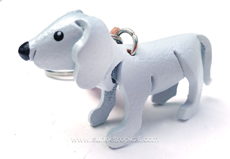 White Golden Retriever Dog 3D Leather Key Chain
