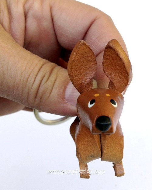 Miniature Pinscher Dog 3D Leather Key Chain (Brown)
