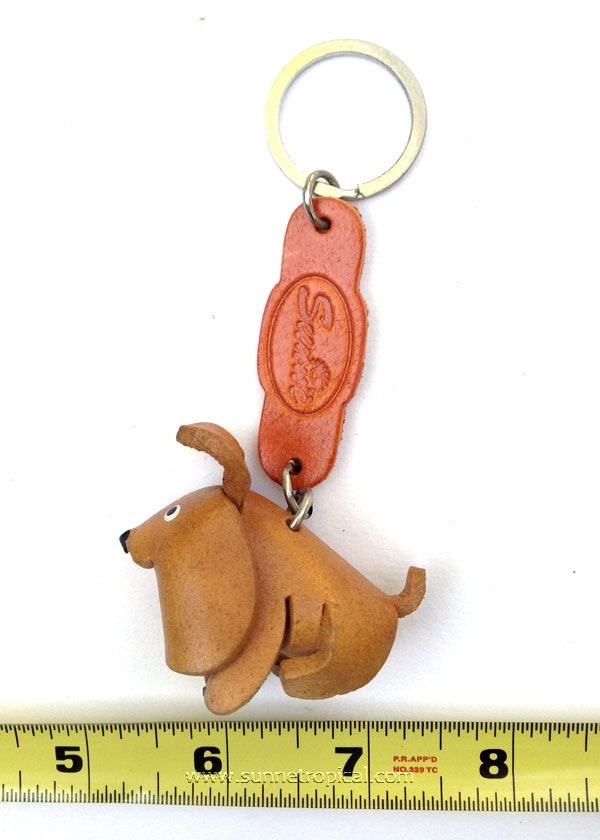 Pomeranian Dog 3D Leather Key Chain (Brown)