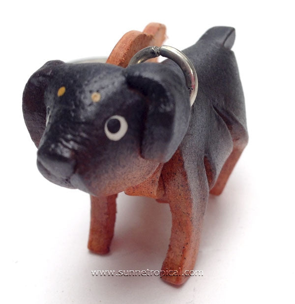Rottweiler Dog 3D Leather Key Chain