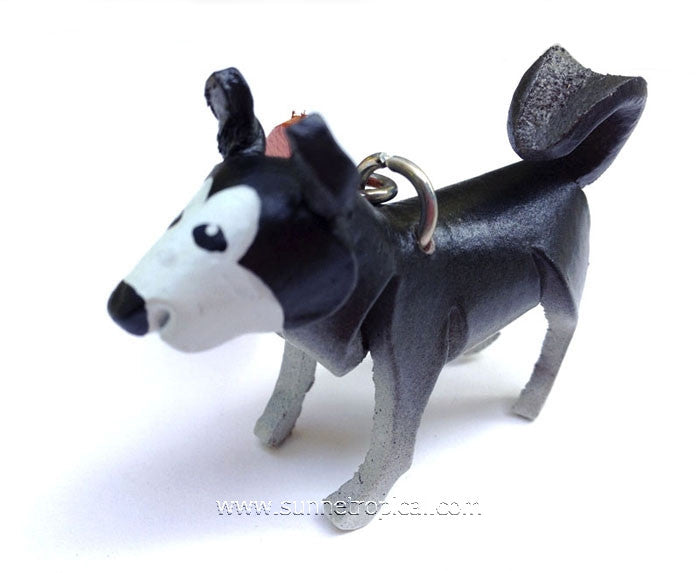 Siberian Husky Dog 3D Leather Key Chain (Black)