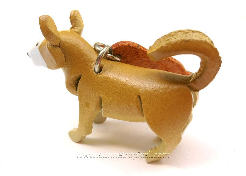 Siberian Husky Dog 3D Leather Key Chain (Yellow)