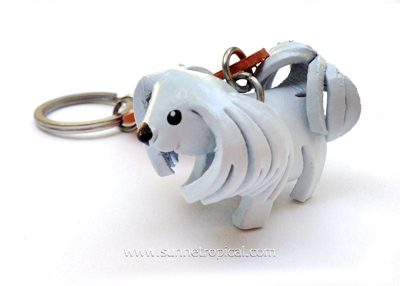 SHIH TZU Dog 3D Leather Key Chain (White)