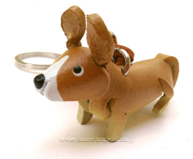 Welsh Corgi Dog 3D Leather Key Chain