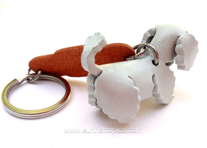 Toy Poodle Dog 3D Leather Key Chain (White)
