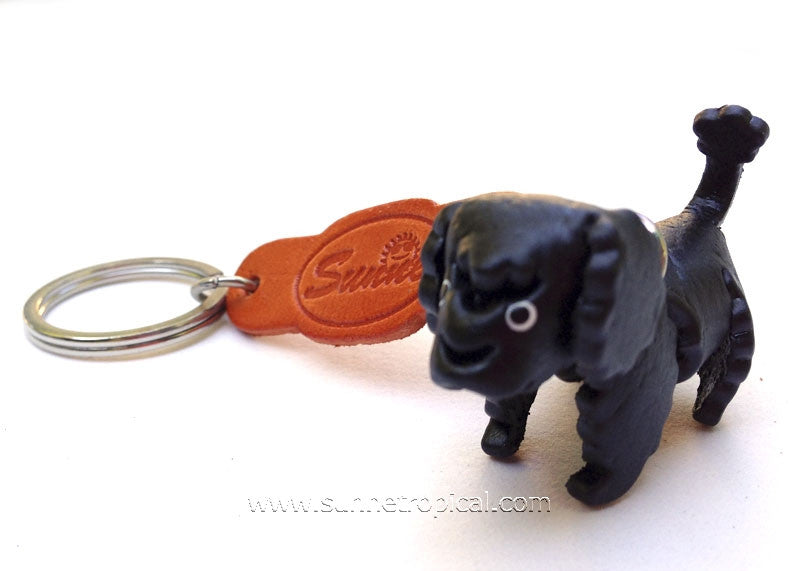 Toy Poodle Dog 3D Leather Key Chain (Black)