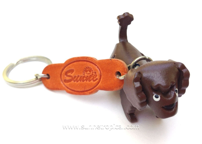 Toy Poodle Dog 3D Leather Key Chain (Chocolate)