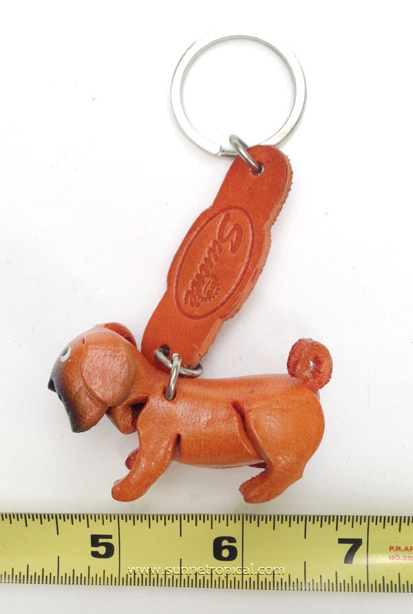 PUG Dog 3D Leather Key Chain (Brown)