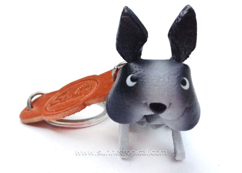Boston Terrier Dog 3D Leather Key Chain