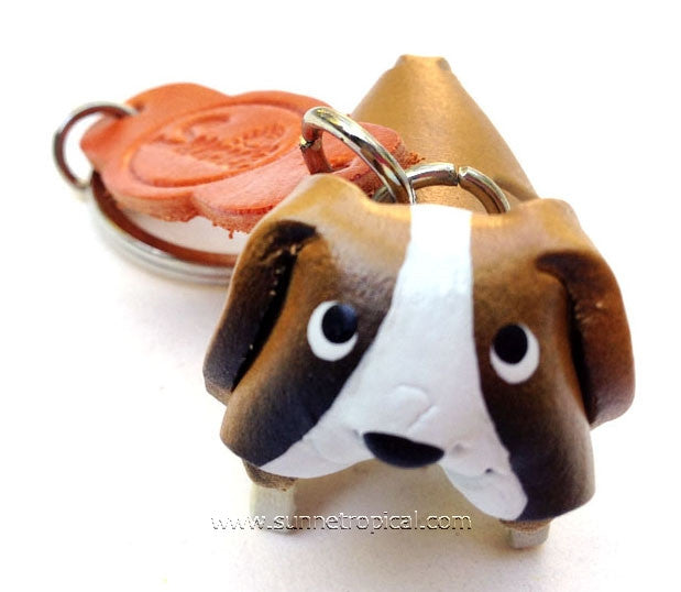 Saint Bernard Dog 3D Leather Key Chain (St. Bernard dog)