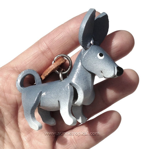 Chihuahua Dog 3D Leather Key Chain (Grey)