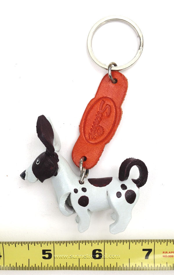 Chihuahua Dog 3D Leather Key Chain (White Brown)