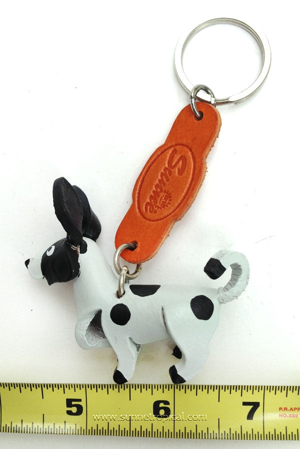 Chihuahua Dog 3D Leather Key Chain (White Black)