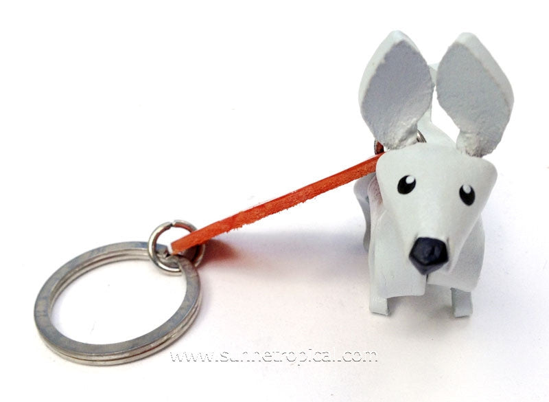 Chihuahua Dog 3D Leather Key Chain (White)