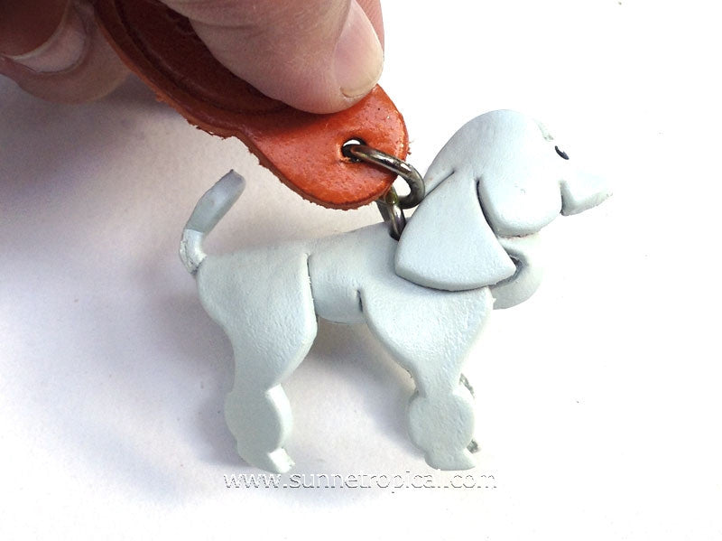 Miniature Poodle Dog 3D Leather Key Chain (White)