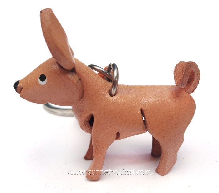 Miniature Chihuahua Dog 3D Leather Key Chain (Cream)