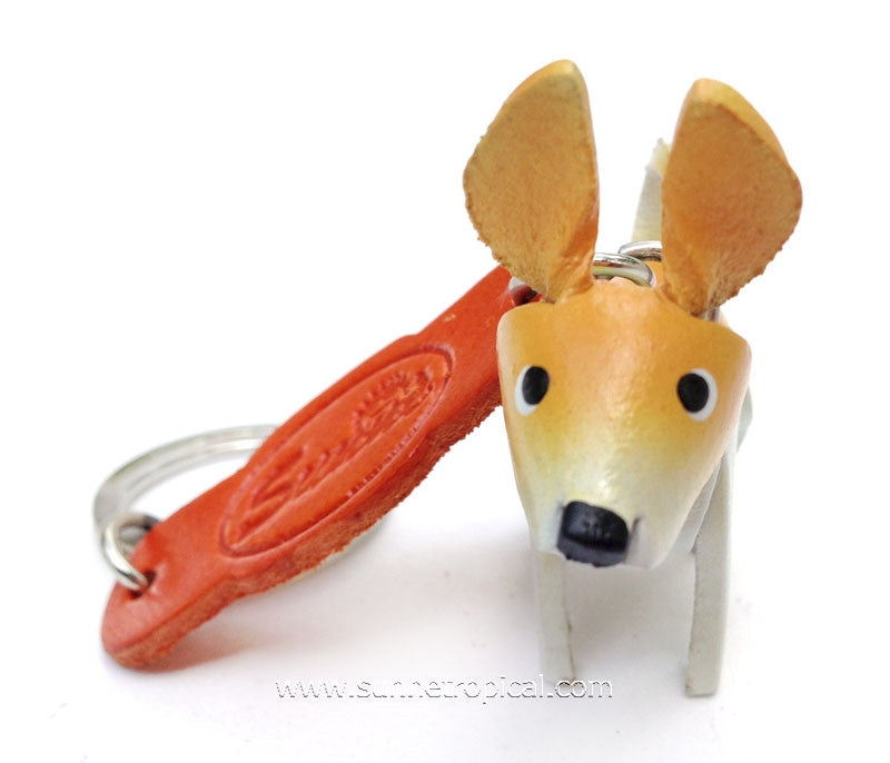 Miniature Chihuahua Dog 3D Leather Key Chain (Yellow)
