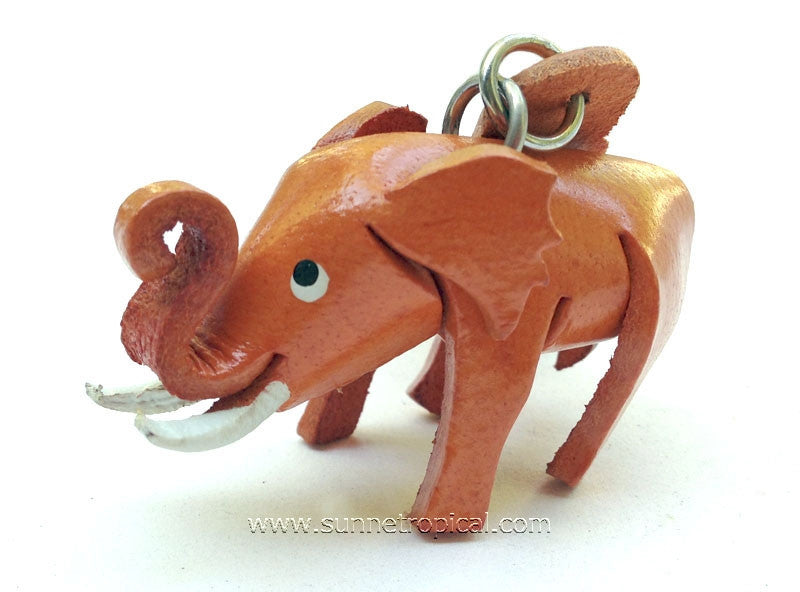 Elephant 3D Leather Key Chain (02)
