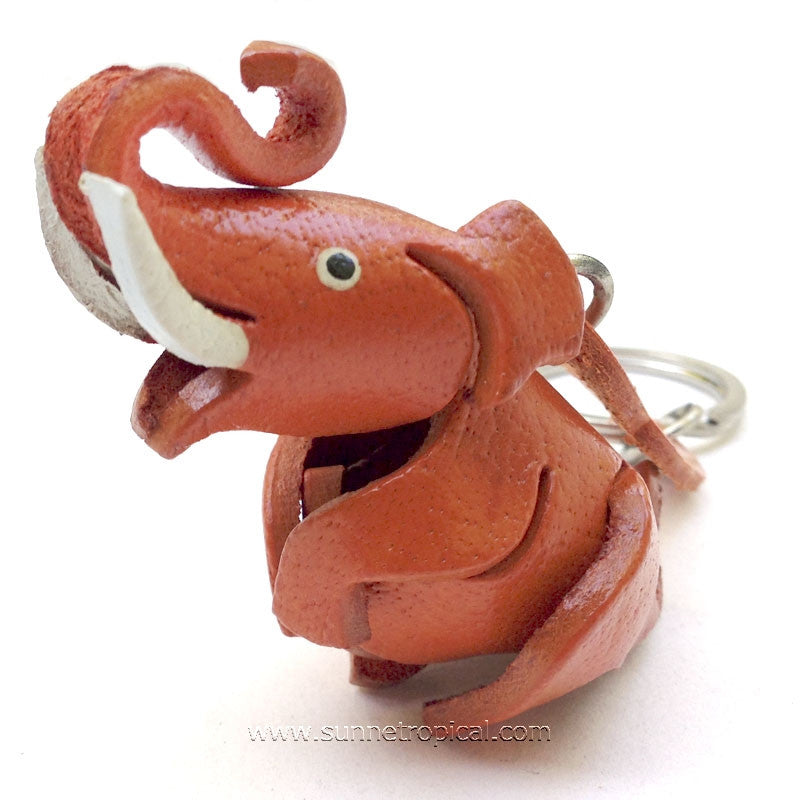 Elephant 3D Leather Key Chain (03)
