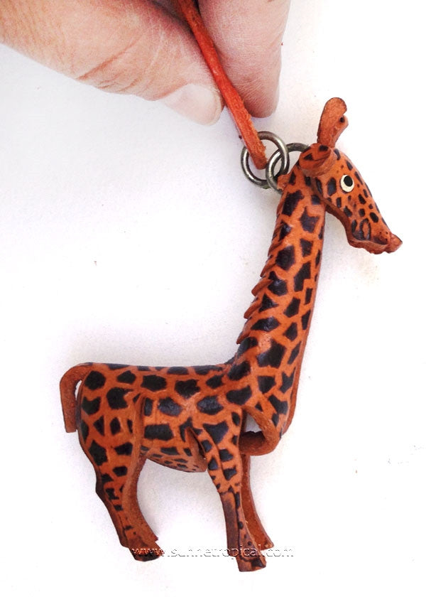 Giraffe 3D Leather Key Chain