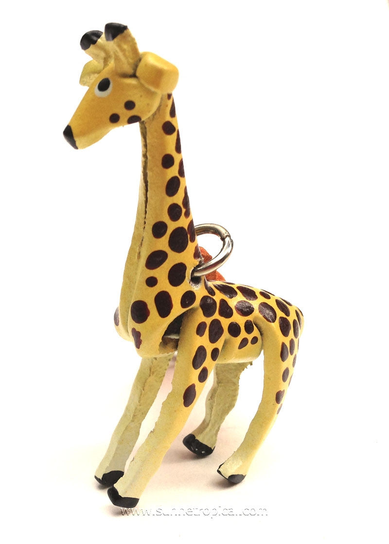 Giraffe 3D Leather Key Chain (Yellow)