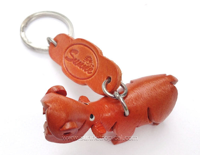 Hippopotamus Hippo 3D Leather Key Chain (Brown)