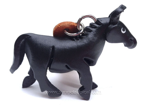 Wild horse, horsey, pony, horse 3D Leather Key Chain (Black)