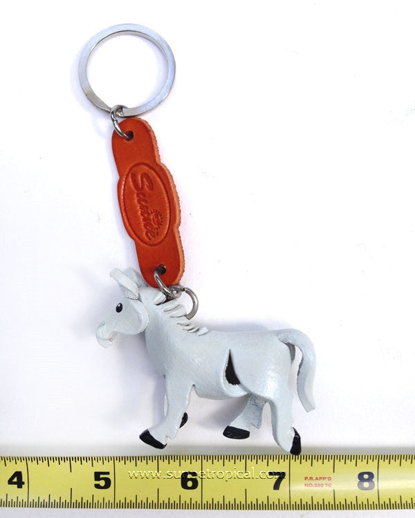 Wild horse, horsey, pony, horse 3D Leather Key Chain (White)