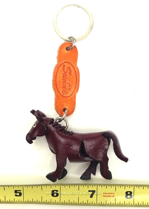 Wild horse, horsey, pony, horse 3D Leather Key Chain (Dark Brown)
