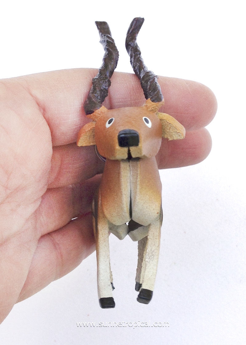 Impala Deer 3D Leather Key Chain