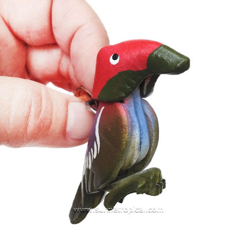 Kingfisher Bird 3D Leather Key Chain (Red)