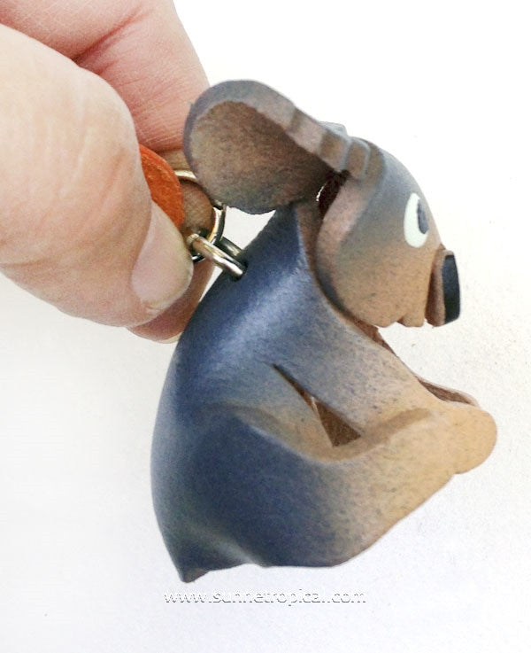 Australian Koala Bear 3D Leather Key Chain (Grey)