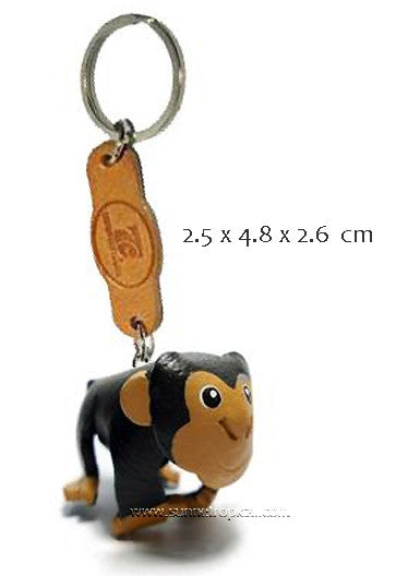 Sitting Monkey 3D Leather Key Chain
