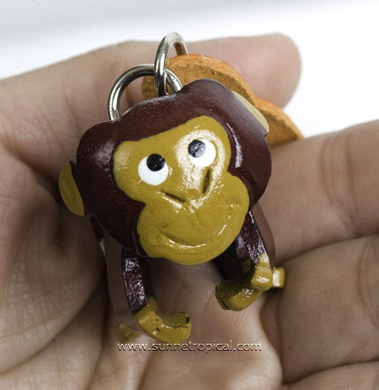 Walking Monkey 3D Leather Key Chain