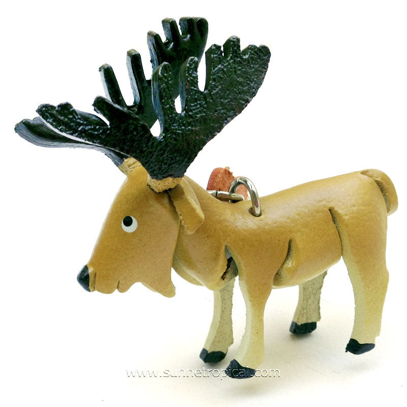 Moose Deer 3D Leather Key Chain