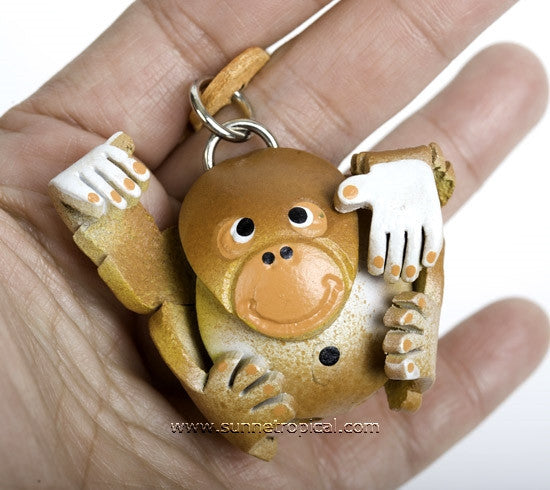 Orangutan Ape 3D Leather Key Chain
