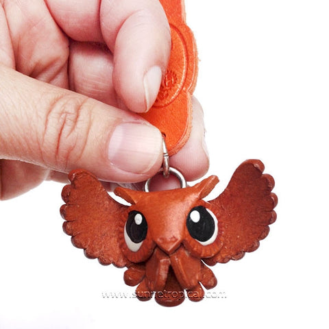 Owl Birds of prey 3D Leather Key Chain (Classic)