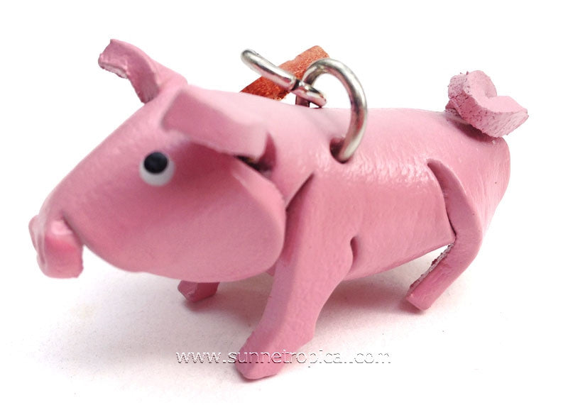 Pig 3D Leather Key Chain