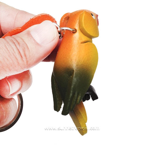 Parrot Bird 3D Leather Key Chain (Yellow)