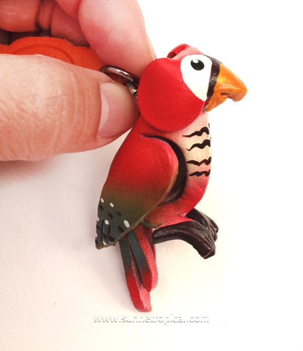 Parrot Bird 3D Leather Key Chain (Red)