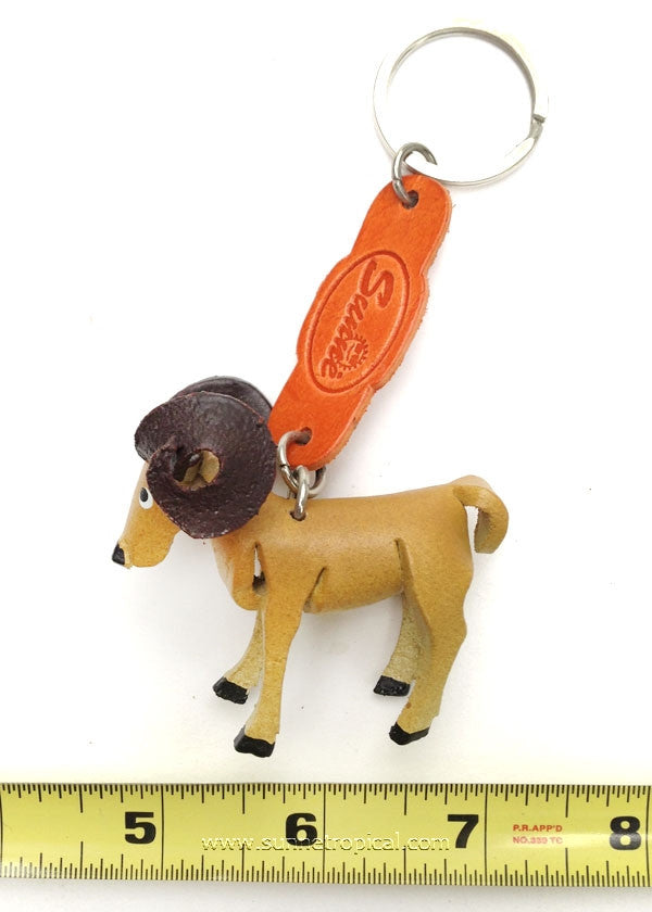 Ram 3D Leather Key Chain