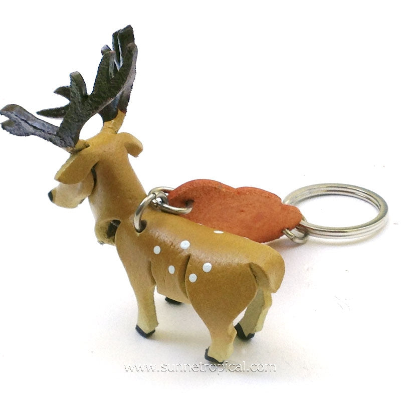 Reindeer Deer 3D Leather Key Chain
