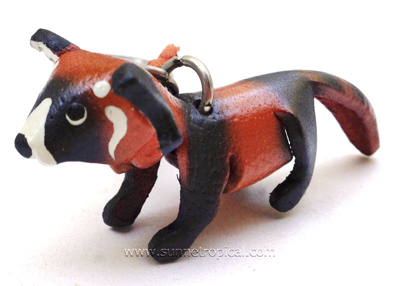 Red Panda Bear 3D Leather Key Chain