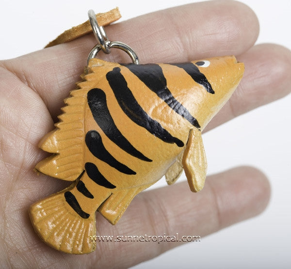 Tiger fish 3D Leather Key Chain (Orange)