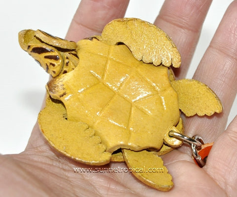 Turtle Tortoise Terrapin 3D Leather Key Chain (01 Brown)