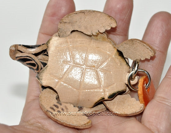 Turtle Tortoise Terrapin 3D Leather Key Chain (01 Black)