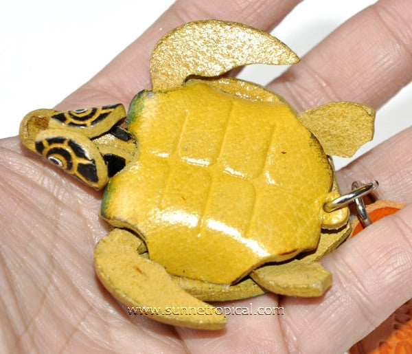 Turtle Tortoise Terrapin 3D Leather Key Chain (02 Green)