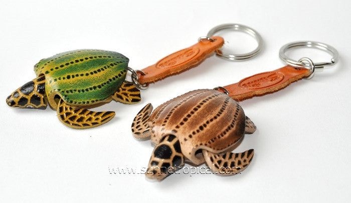 Turtle Tortoise Terrapin 3D Leather Key Chain (02 Cream)