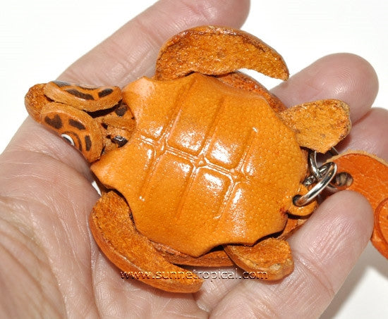 Turtle Tortoise Terrapin 3D Leather Key Chain (04 Brown)