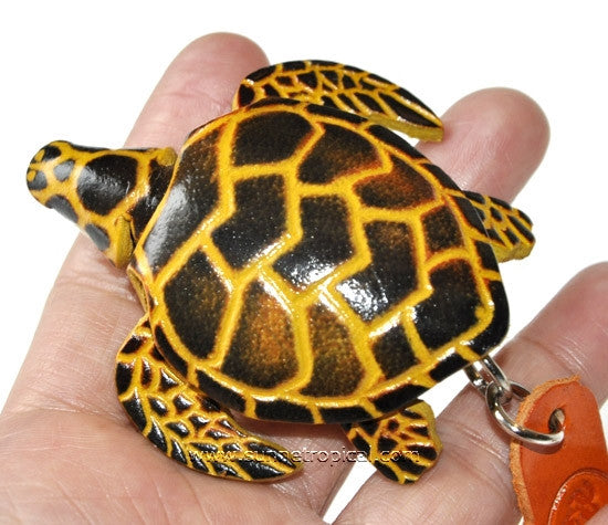 Turtle Tortoise Terrapin 3D Leather Key Chain (04 Black)